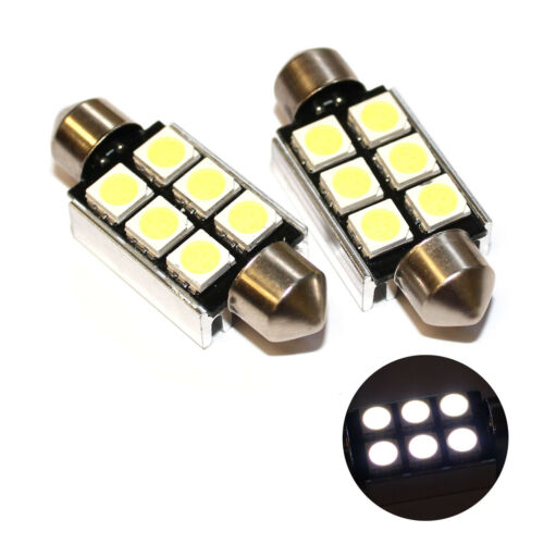 Fits VW Polo 6R 1.4 TSi GTI White 6-SMD LED 39mm Festoon Number Plate Bulbs