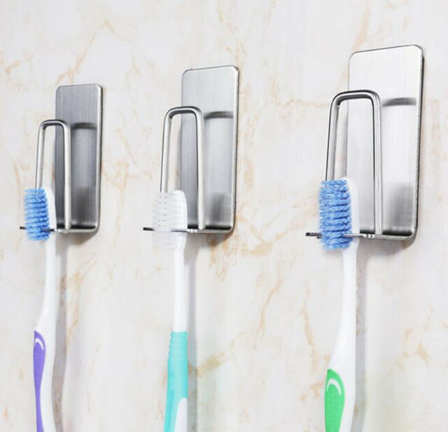 3pcs Brushed Stainless Steel 3m Self Adhesive Wall Mount Toothbrush Holder