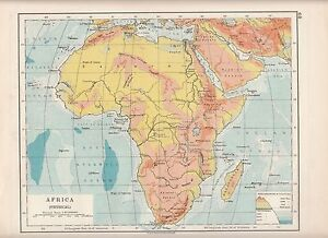 1923 MAP ~ AFRICA PHYSICAL ~ HEIGHTS & DEPTHS MADAGASCAR DESERTS ...