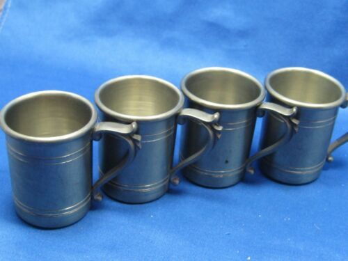 "1 34"" Tall Lot 4 Antique German Engraved Pewter ShootersCups WHandles"