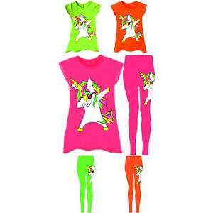 Dabbing-Unicorn-Swing-Dress-Leggings-Neon-Girls-Age-5-13-Years