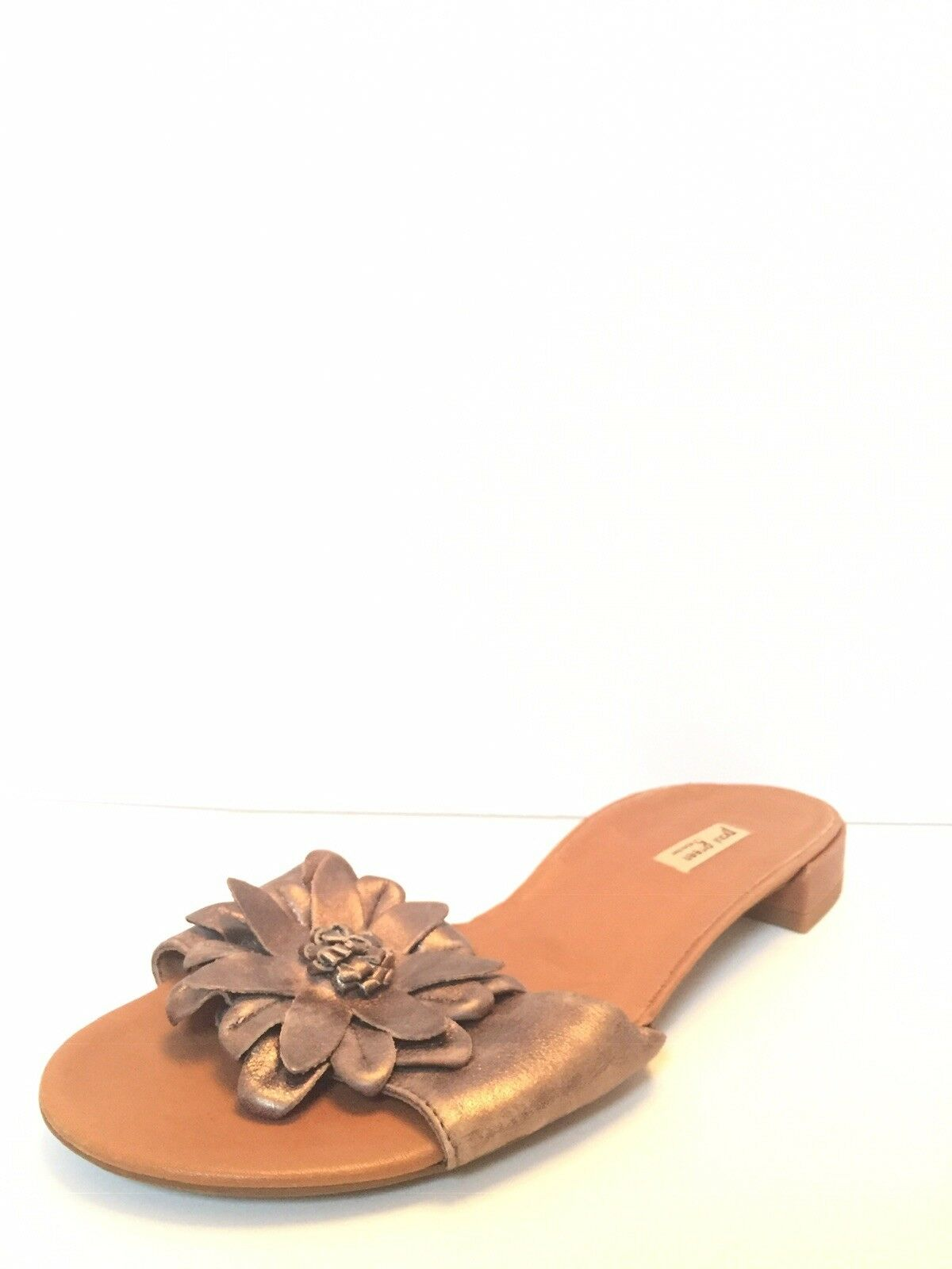 245 Paul Green Size 6 Brown Metallic Leather Handmade Low Heel Flip Flop Sandal