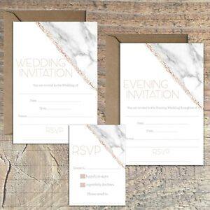 WEDDING-INVITATIONS-BLANK-ROSE-GOLD-AND-MARBLE-PRINT-EFFECT-PACKS-OF-10