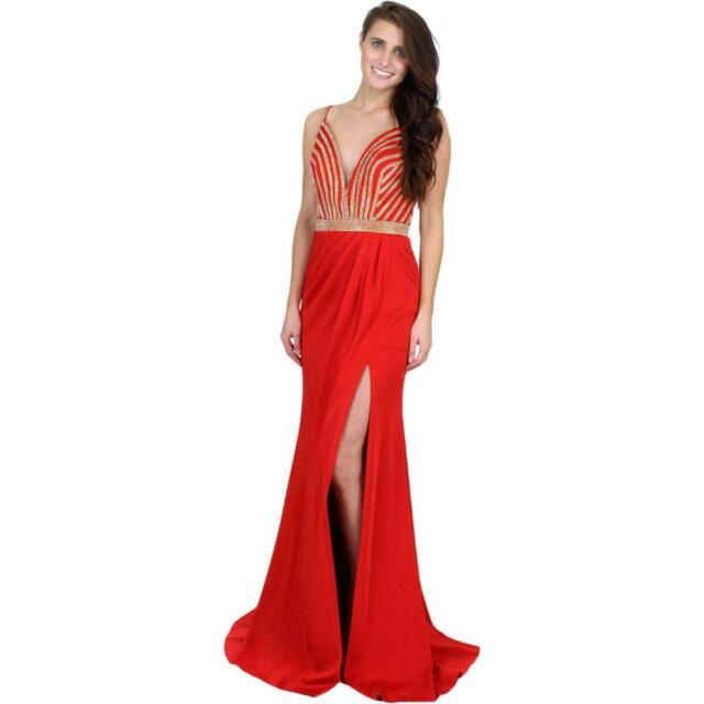 JVN by Jovani Womens 48486A Prom Two Piece Beaded Crop Top Dress Gown BHFO 7619