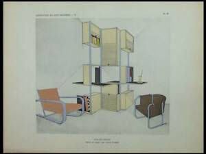 Louis Sognot, Atelier Studio, Meubles Art Deco - 1929 - Pochoir,
