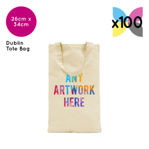 100 Personalised Cotton Dublin Tote Bag Promotional Photo Text Logo Name Printed
