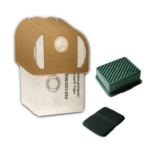 10 sacs pour aspirateur Filtre Actif Système HEPA Adapté Pour Vorwerk Tiger 251-252