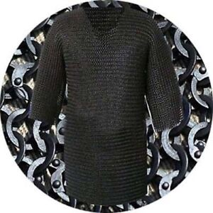 Flat-Riveted-With-Washer-Chain-mail-shirt-9-mm-Large-Half-sleeve-Hubergion