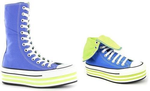 Converse Periwinkle Blau & Green BAJA EVA Platform XHI 13-Eye Schuhes Wms NEW DISC