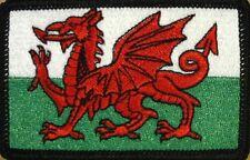 WALES FLAG Embroidered Iron-On PATCH WELSH EMBLEM UK BLACK Border #03
