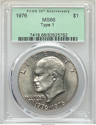 1976 EISENHOWER IKE DOLLAR TYPE 1 ONE $1 PCGS MS66, PRICE GUIDE = $4,500!