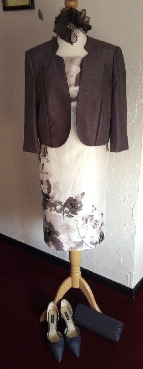 Complete JACQUES VERT wedding outfit 16/18 (dress/jacket/shoes/bag/fascinator)