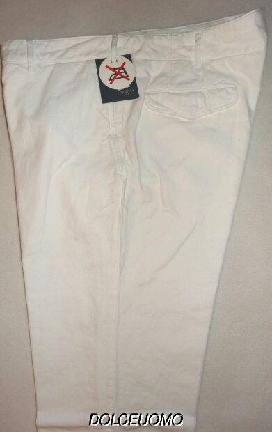 NEW  men INCOTEX VENEZIA DRESS PANTS 37 W WHITE NO IRON 100% COTTON SLIM FIT