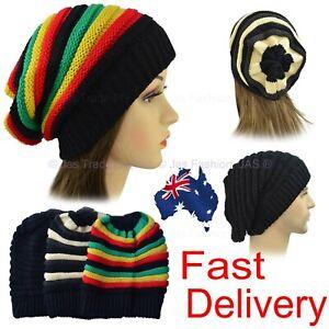 Unisex-Men-Women-Winter-Stretch-Stretchy-Ribbed-Striped-Slouchy-Beanie-Hat-RASTA