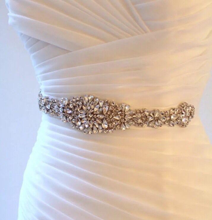 Bridal Wedding Gold Rhinestone Crystal Encrusted Diamante Sash Dress White Belt