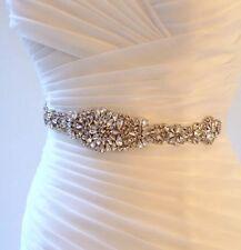 Bridal Wedding Rhinestone Crystal Encrusted Diamante Sash Dress Ivory Belt