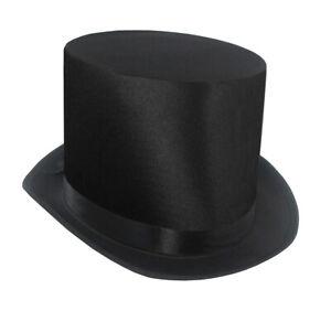 Tall Satin Top Hat Victorian Steampunk Dickens Slash Formal Costume Black Adult