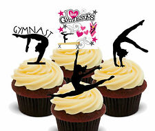 I Love Gymnastics Silhouettes Edible Cup Cake Toppers, Standup Decorations Girl