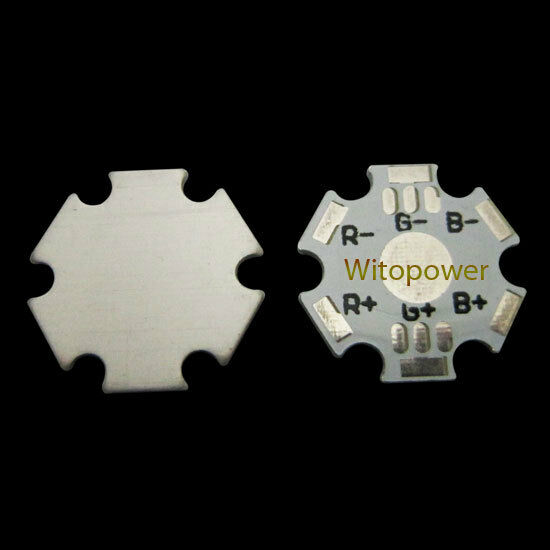 20pcs 3W RGB High Power LED 6pins Heat Sink Aluminum Base Plate board DIY White