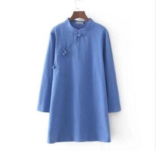 Lino para Mujer Abrigo Chaqueta Larga de Lino Vestido Retro Prendas para el torso Camisa Blusa Elegante Casual