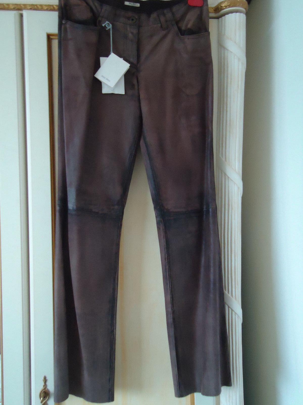 MIU MIU von PRADA Echt Leder Hose Jeans Braun Grau It.42 (D.36 38) Jades