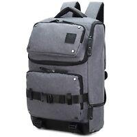 High Quality Mens Men's Grey Canvas & Leather Rucksack Backpack Bag Mbag16