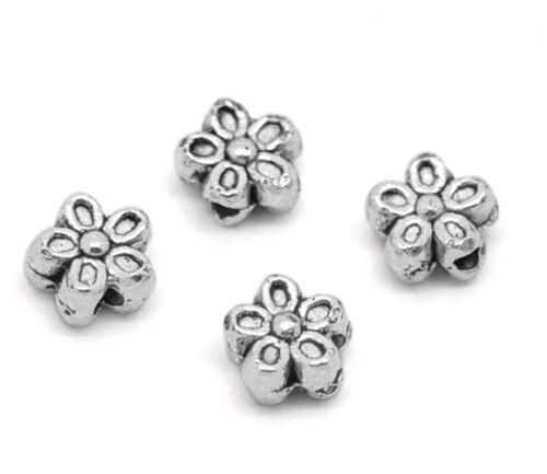 50 Antiksilber Blumen Spacer Perlen Beads 7mm