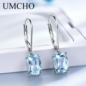Women-925-Sterling-Silver-Sky-Blue-Topaz-Drop-Earrings-Elegant-Gemstone-Jewelry