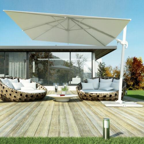 Ombrellone 3x2 da giardino bianco alluminio girevole con camino antivento novità