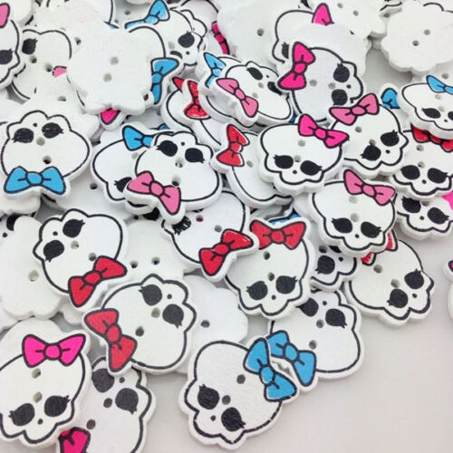 50//100pcs Skull With Bow Wood Buttons 20mm 2 Holes Sewing Craft Mix WB209