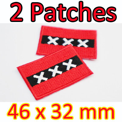 AMSTERDAM CITY FLAG PATCH DUTCH Netherlands HOLLAND w// VELCRO® Brand Fastener