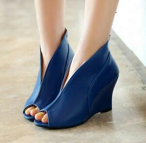 Women-039-s-High-Wedge-Heel-Slip-On-Open-Toe-Ankle-Boots-Sandals-Cut-Out-Shoes-Size