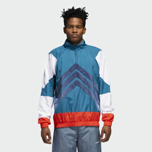 Adidas-Originals-V-Rayures-Coupe-Vent-Veste-Hommes-Bleu-Sarcelle-Rouge-Blanc-CE4816