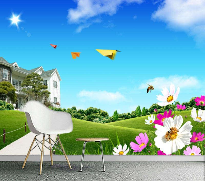 Sunny Lofty Blau Sky 3D Full Wall Mural Photo Wallpaper Printing Home Kids Decor