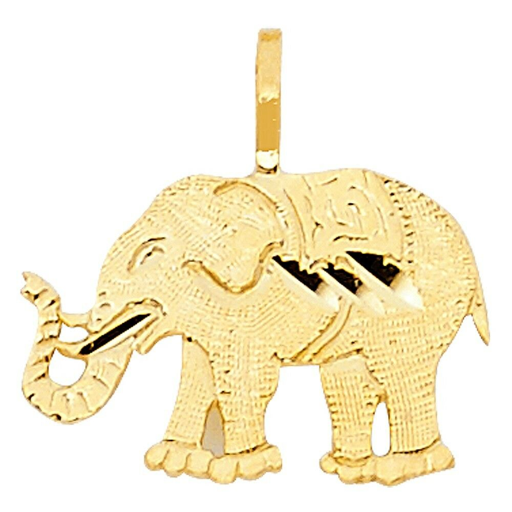 Flat Charm Elephant with Horn Animal 10mm Pendant 14k Yellow Pure Italian gold
