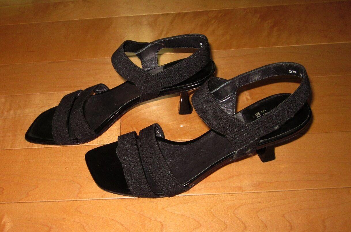 Stuart Weitzman Womens Black Stretch Fabric Slide Sandals Heels 6 M