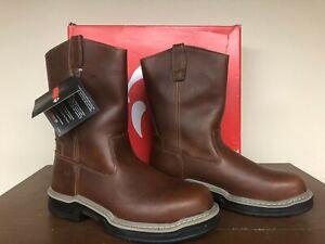 "Wolverine Men/'s 10/"" Leather Raider Welt Soft Steel Toe Wellington work Boots"