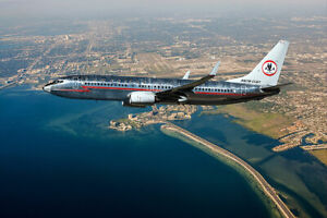 AMERICAN AIRLINES BOEING 737 RETRO ASTROJET 12x18 SILVER HALIDE PHOTO PRINT