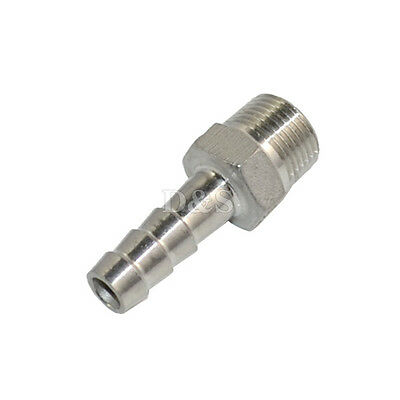 "1/4"" Male Thread Pipe Fitting x 6mm Barb Hose Tail Connector Stainless Steel NPT"