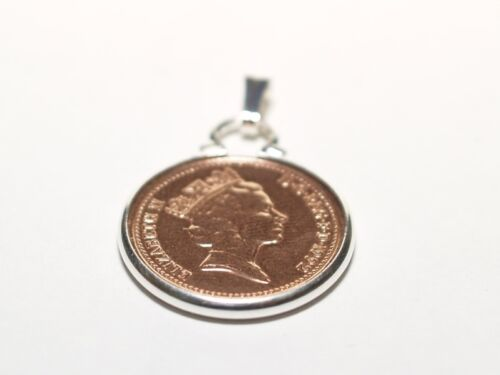 1994 24th Birthday Anniversary 1p coin in a Silver Plated Pendant mount