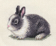 Grey + white DUTCH RABBIT ~ Complete counted cross stitch kit + all materials
