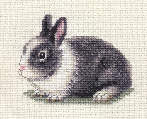 todos los materiales Blanco neerlandés Conejo ~ Completa puntada cruzada contada Kit Gris