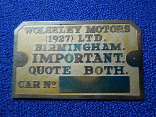 ID-Plate Birmingham Important Typenschild Wolseley Motors 1927