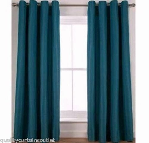 """HOTEL QUALITY RRP£64 Lined Eyelet Jacquard Curtains 90x90"""" 229x229cm TEAL"""