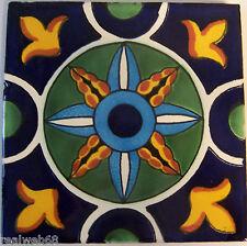 "C289 Mexican Handmade Talavera Clay Tile Folk Art 4x4/""  Handpainted"