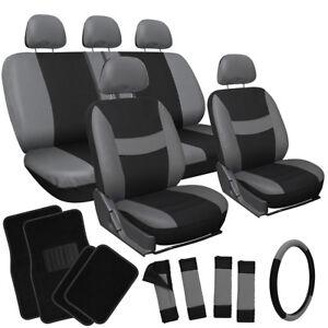 21pc Set Gray Black Car Seat Cover w/Floor Mat/Steering Wheel/Belt Pad/Head Rest