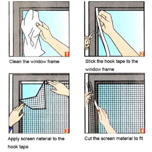 150*130 cm blanc bricolage auto-adhésif Fenêtre Filet Maille Anti Moustique Fly Bug Écran