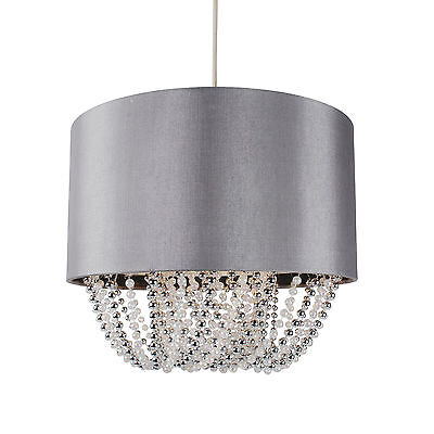 Romantisch Modern Easy Fit Drum Shade Grey Fabric Ceiling Pendant Light Shade Chandelier