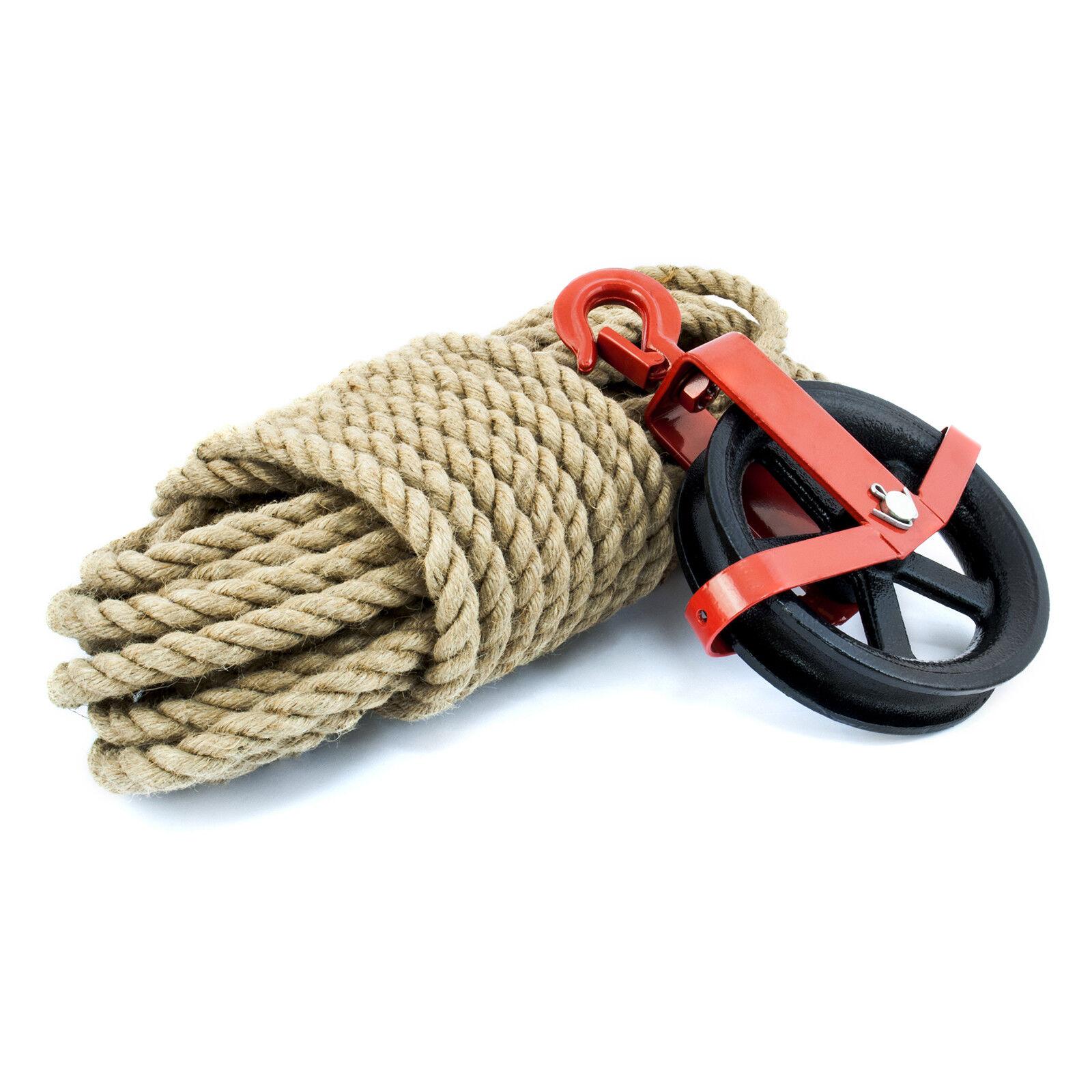 JUTESEIL SET Seil + 6-20mm + Seil Umlenkrolle 125-180mm mit Haken Jute Seilwinde Rolle 4de2a8