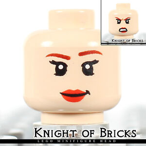 LEGO Minifigure Head LIGHT FLESH Female Dual Sided Red Lips Smile Angry